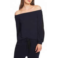 1.State Lace-Trim Off-The-Shoulder Top (Blue, M)