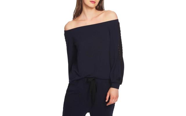Lace-Trim Off-The-Shoulder Top (Blue, M)