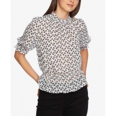 1.State Printed Mock-Neck Blouse (Natural, XS)