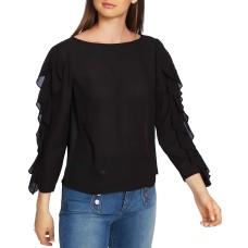 1.State Ruffle Slit Sleeve Top (Black, S)