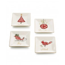 222 Fifth Natala Collection Set of 4 Square Appetizer Plates (White/Red)
