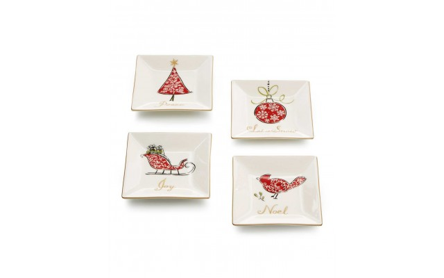 Natala Collection Set of 4 Square Appetizer Plates (White/Red)