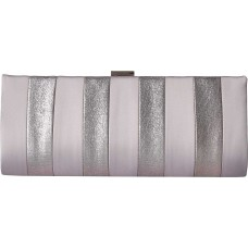 Adrianna Papell Women's Frame Striped Satin Clutch (Pewter)