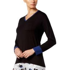 Alfani Colorblock Contrast-Cuff Pajama Top (Black, XS)