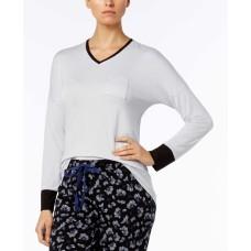 Alfani Colorblock Contrast-cuff Pajama Top Women (White, XS)