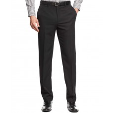 Alfani Flat-Front Slim-fit Herringbone Wrinkle-Resistant Pants (Black, 38X30)