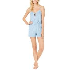 Alfani Lace-Up Print Knit Pajama Romper
