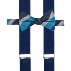 Alfani Men's Holiday Grid Bow Tie & Suspender Set (Blue Light)