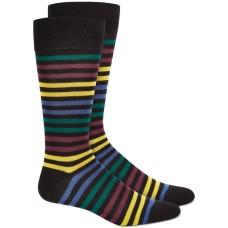 Alfani Men's Multi Bold Striped Dress Socks, Black Yellow