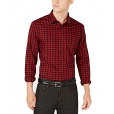 Alfani Men's Regular Fit Lewis Plaid Shirt (Red, XXL)