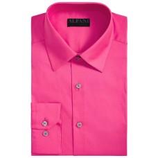 Alfani Men's Solid Athletic Fit Shirt (Pink, 15-15.5 34-35)
