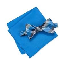 Alfani Mens Walsh Neat Plaid Neck Tie Set royal Short