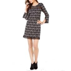 Alfani Petite Illusion-Lace Shift Dress (Black/White, 12P)