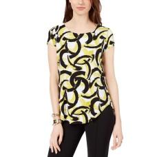 Alfani Petite Printed Round-Hem T-Shirt (Green Interlocking Swirl, PS)