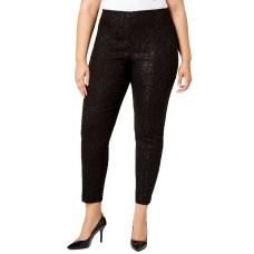 Alfani Plus Metallic-Knit Pull-On Pants (Black, 22W)