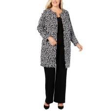 Alfani Plus Size Animal-Print Jacket (Black, 1X)
