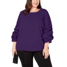 Alfani Plus Size Billow-Sleeve Blouse (Purple, 0X)
