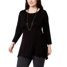 Alfani Plus Size Chiffon-Back Tunic (Black, 1X Plus)
