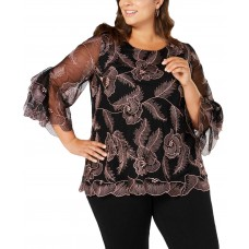 Alfani Plus Size Embroidered Statement-Sleeve Top (Pink, 1X)