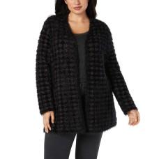 Alfani Plus Size Eyelash-Yarn Printed Cardigan Cardigan Sweaters