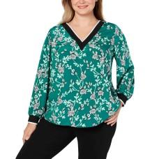 Alfani Plus Size Floral-Print V-Neck Top (Green, 1X)