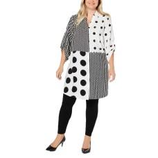 Alfani Plus Size Mixed-Print Super Tunic (White, 1X)
