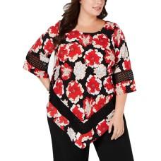 Alfani Plus Size Printed Crochet-Trim V-Bottom Blouse (Red, 3X)