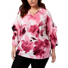 Alfani Plus Size Printed Ruffled-Sleeve Zip-Back Top (Pink, 2X)