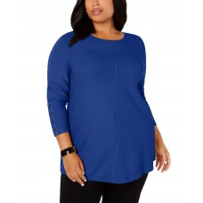 Alfani Plus Size Ribbed Snap-Detail Sweaters