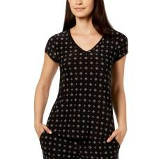 Alfani Printed Chiffon-Trim Pajama Top (Black, S)
