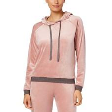 Alfani Velvet Hooded Pajama Top (Pink, 2XL)