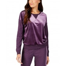 Alfani Velvet-Panel Pajama Top (Purple, S)