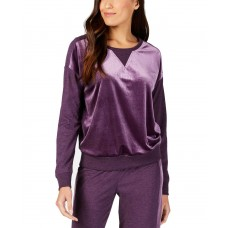 Alfani Velvet-Panel Pajama Top (Purple, XL)