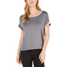 Alfani Velvet-Trim Pajama Top (Gray, XL)