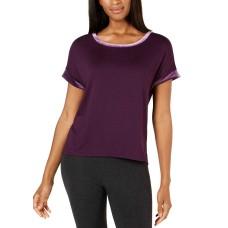 Alfani Velvet-Trim Pajama Top (Purple, S)