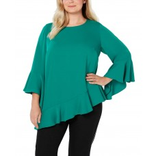 Alfani Women's Plus Size Asymmetrical Bell-Sleeve Pullover Blouse Shirt Tops