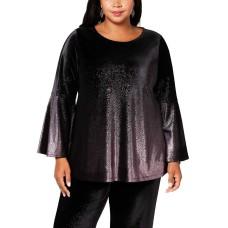 Alfani Women's Plus Size Metallic Velvet Blouse Shirt Tops
