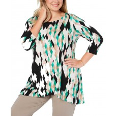 Alfani Women's Plus Size Printed High-Low Pullover Blouse Tunic Tops