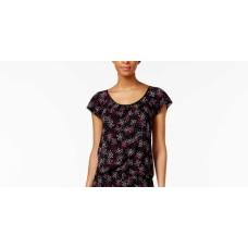 Alfani Women's Printed Flutter-Sleeve Top and Boxer Shorts Pajama Set (Fireworks, XXL )