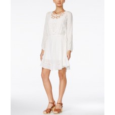 Alice Through The Looking Glass Juniors' Long-Sleeve Lace-Yoke A-Line Dress (White, Small)