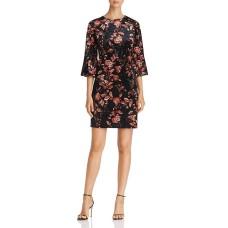 Alison Andrews Floral Crushed-Velvet Dress (Black, S)