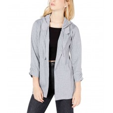 Almost Famous Juniors' Ruched-Sleeve Hoodie Blazer Jacket (Gray, XS)