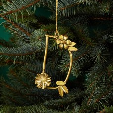 Aman Imports Metal D Leaf Letter Ornament, Gold