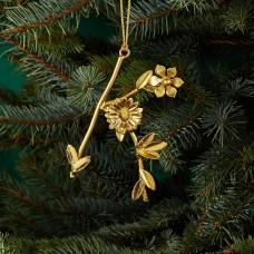 Aman Imports Metal K Leaf Letter Ornament, Gold