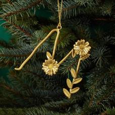 Aman Imports Metal M Leaf Letter Ornament, Gold