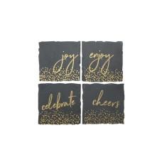 American Atelier Mistletoe Memories Collection Slate 4-Pc. Coaster Set (Charcoal)