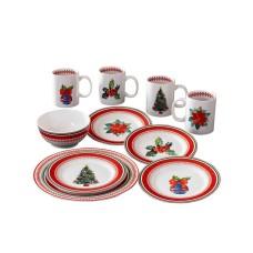 American Atelier Noelle 16 Piece Dinnerware Set, Red/Green