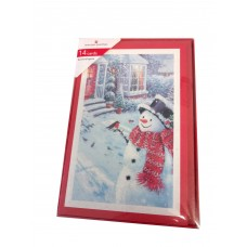 American Greetings Snowman Near House 14 Cards With Envelopes Glitter Snowr