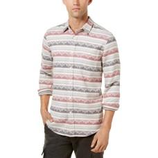 American Rag Men's Geometric Striped Shirt (Oat Heather, 2XL)