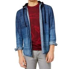 American Rag Mens Plaid Hooded Shirt Jacket (Blue, M)